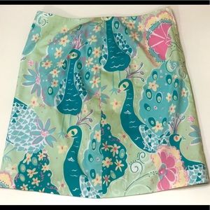 Lilly Pulitzer Peacock zippered Lined Skirt size 2